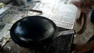 Making Of Chicken Fried Rice In A Roadside Restaurant.