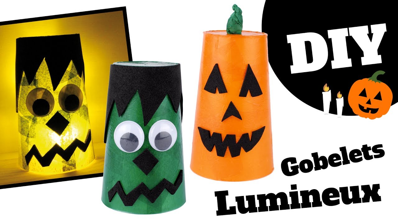 tuto diy halloween gobelets lumineux monstre et citrouille bricolage facile pour enfants. Black Bedroom Furniture Sets. Home Design Ideas