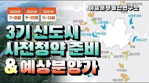 3기 신도시 사전청약 준비 & 예상분양가 - 이승훈부동산연구소