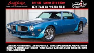 1970 Trans Am 400 Ram Air III, Numbers Match, New Lucerne Blue Stock #870