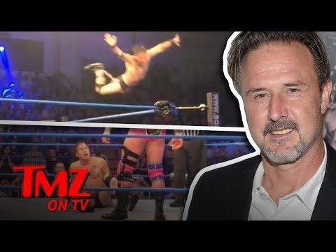 David Arquette Busts Crazy Moves At Wrestling Match  TMZ TV