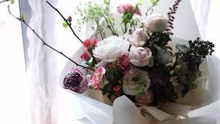서울꽃배달산당화와곱슬버들이있는꽃다발배달