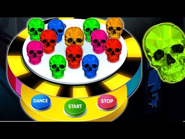Skulls Balls Dancing Machine Game on Finger Family Song With Spooky Color Skeletons by KidsCamp
