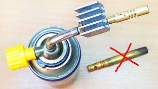 Как сделать насадку газовой горелки под баллон с коротким и тонким пламенем как у турбо зажигалки