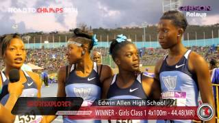Edwin Allen team on breaking Girls Class 1 4x100m Relay RECORD - Gibson Relays - ROAD TO CHAMPS 2014