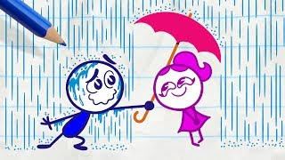 Pencilmiss Makes the Sun Shine -in- RAIN WOMAN - Pencilmation Cartoons