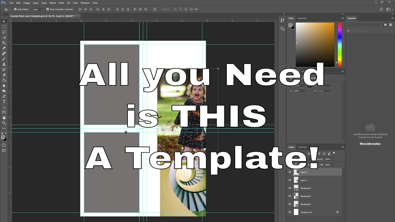 How To Create A Greeting Card Template In Photoshop Youtube