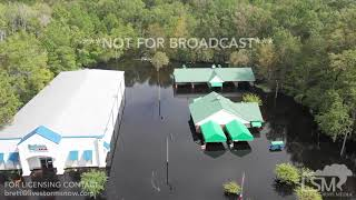 9-24-2018 Conway, SC Record flooding, homes, businesses flooded man builds levee to save house drone