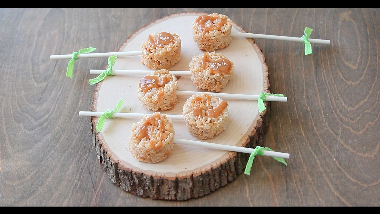 Salted Caramel Rice Krispie Pops Youtube Kripiss Medan Karamel