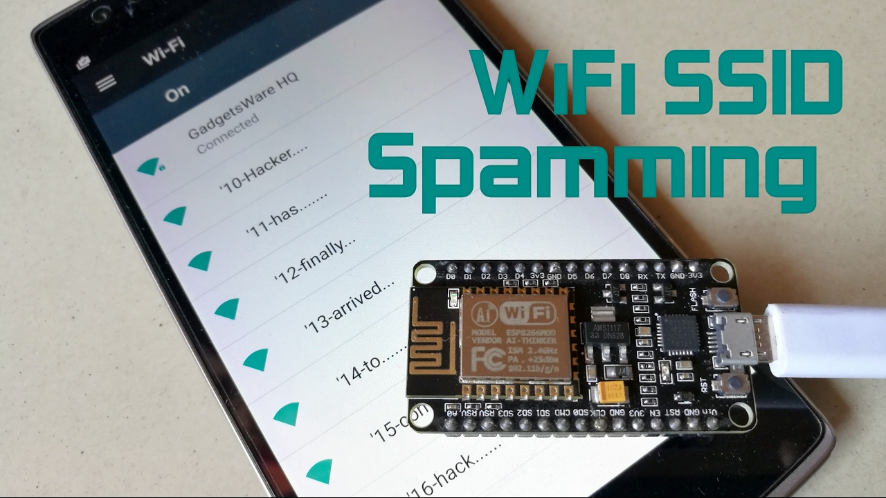 WiFi SSID Spamming with continuous Text using ESP8266