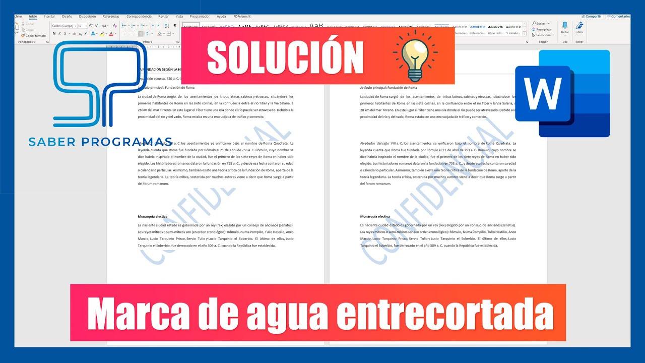 Word | SOLUCIÓN para marcas de agua entrecortadas por texto en Word | Tutorial en español HD