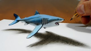 3D Trick Art on Paper   Floating Shark