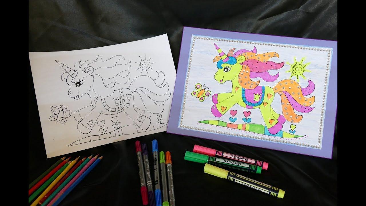 Einhorn - Malvorlage für Kinder - unicorn - ausdrucken