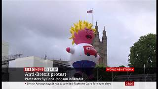 Anti-Brexit protest flies Boris Johnson inflatable (UK) - BBC News - 20th July 2019