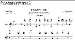 50 Carol Christmas Song Easy Notes Sheet Music PDF Book for Flute Recorder Violin Oboe Villancicos M