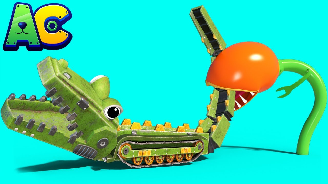 The CROCODILE ROCK CRUSHER is trapped in a CARNIVOROUS PLANT! - kids cartoons with trucks & animals