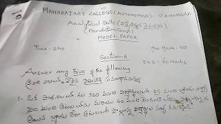 Degree 2nd year4th sem analytical skills important question