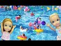 SUPER pool party ! Elsa and Anna toddlers - MANY floaties - Barbie - lazy river - water fun splash