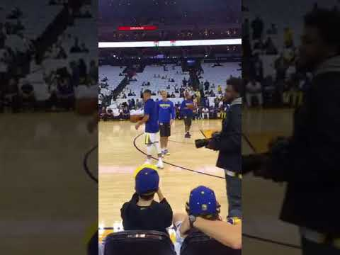 Steph Curry pregame warmup routine from Oracle Arena, season opener vs Houston Rockets