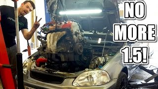 🐒 HONDA CIVIC BUILD Ep4 - REMOVING THE ENGINE