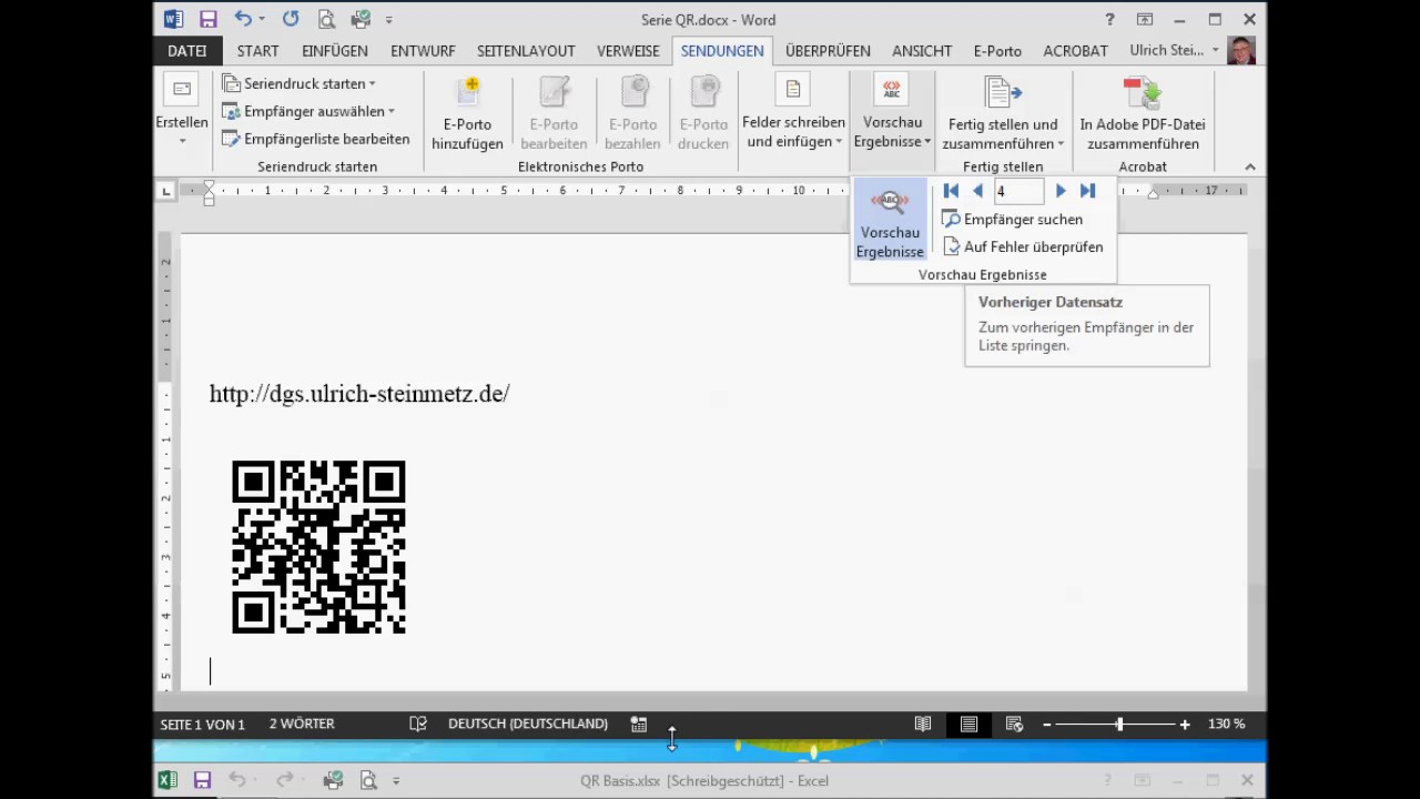 QR Codes mit Excel und Word produzieren - YouTube