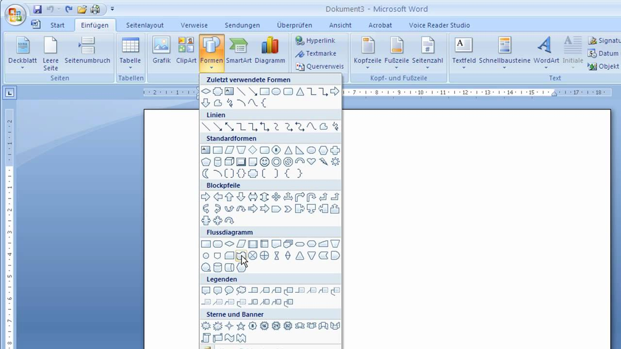 Word 2007 - Text in Autoformen eingeben - YouTube