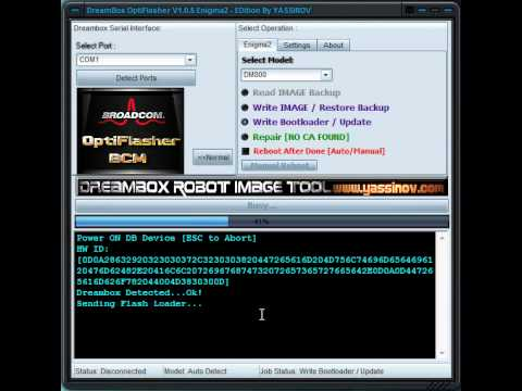 Dreambox OptiFlasher Writing Bootloader Operation in Advanced Mode1