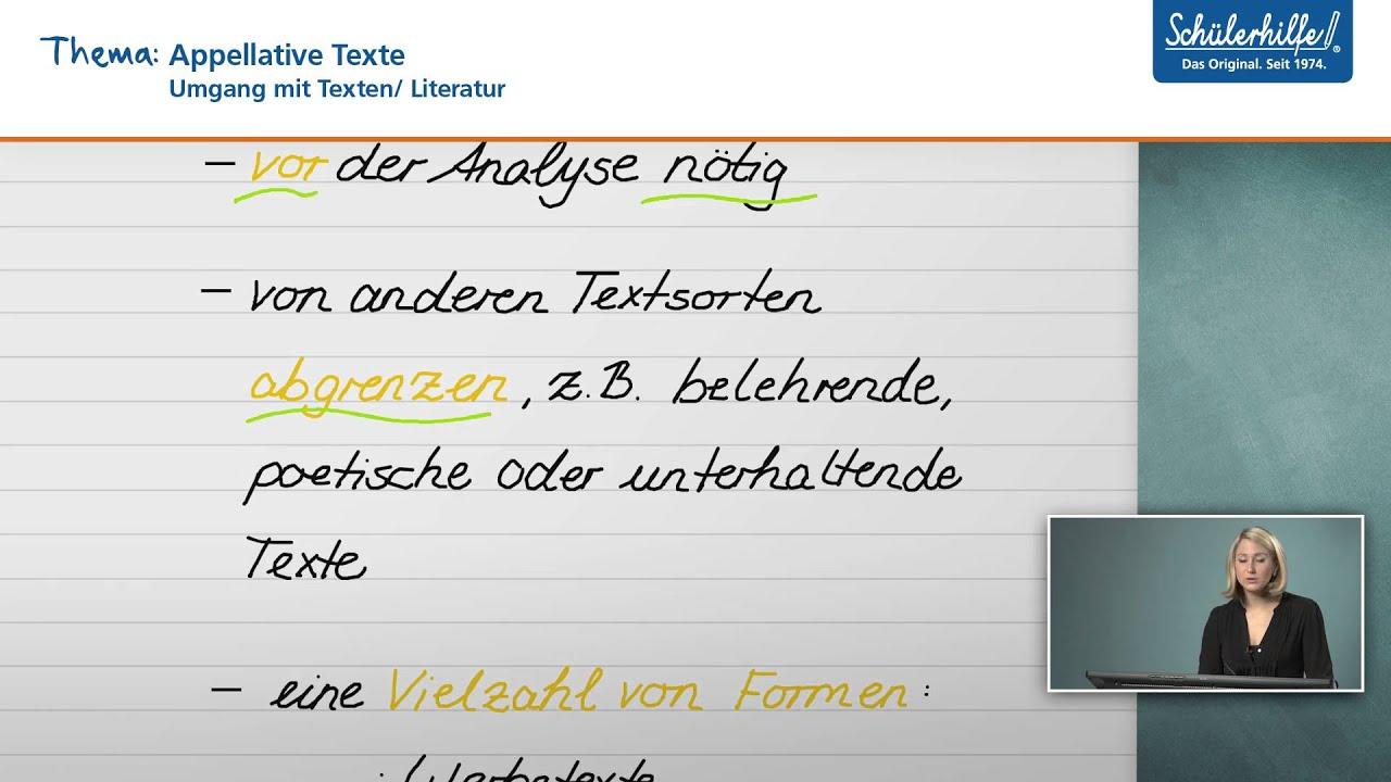 Appellative Texte Umgang Mit Texten Medien Deutsch Schulerhilfe Lernvideo Youtube