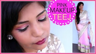 How To Do Indian TEEJ FESTIVAL Makeup Tutorial,Nepali,Bangladesi Pink Makeup  | SuperPrincessjo