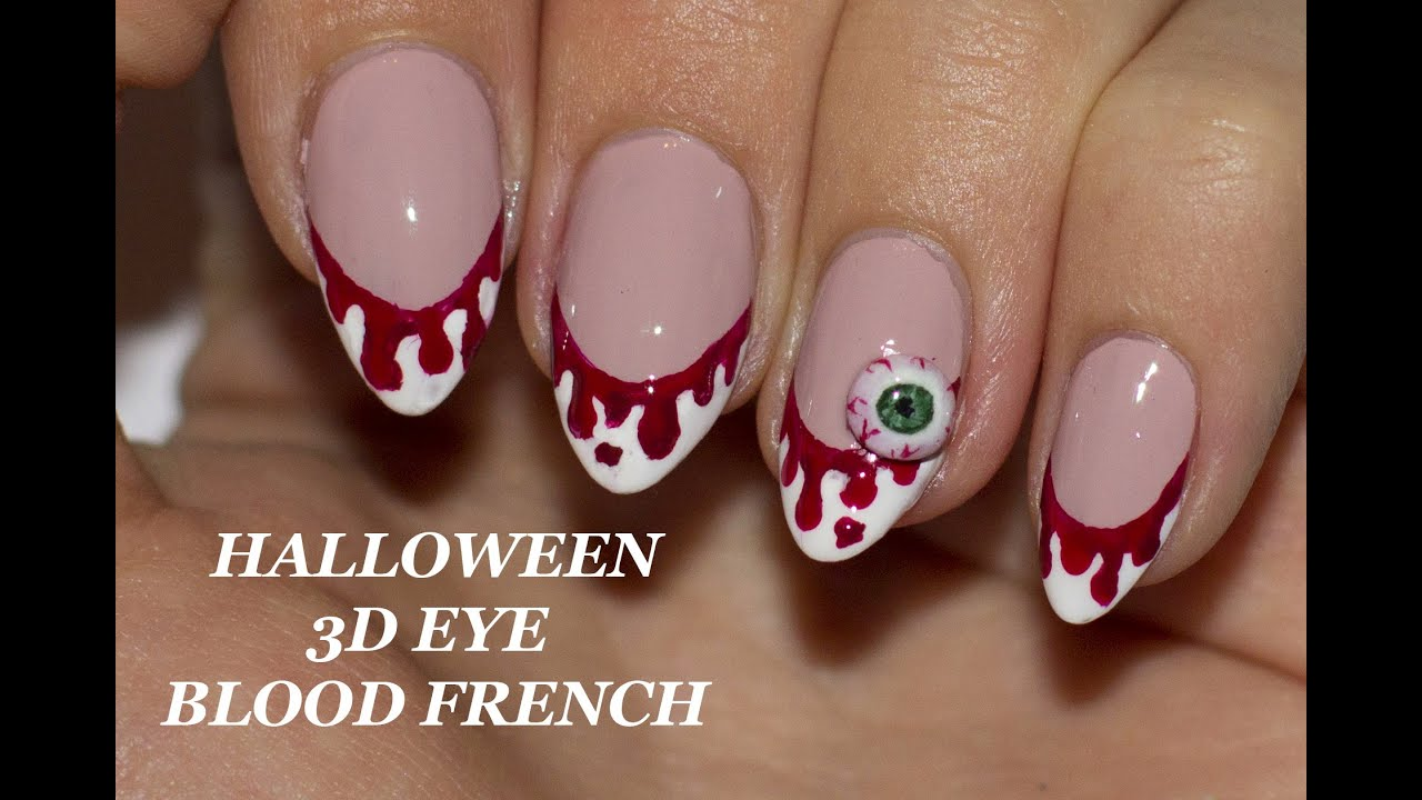 Halloween 3D Eye with Bloody French Nail Art tutorial - YouTube