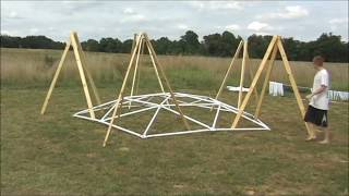 32 Foot 4V Geodesic Dome: Top Down Test Assembly (Side Camera)