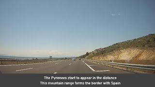 Autoroute A9 in southern France, from Narbonne to the Spanish borde...