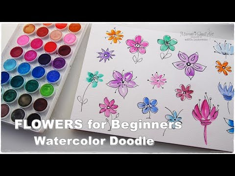 Super Easy Quick Watercolor Doodle Flowers Painting for Beginners ♡ Maremi's Small Art ♡