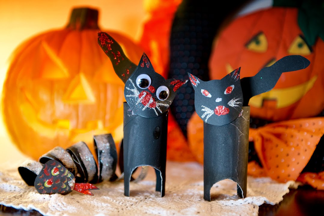 Decoracion halloween gato y culebra de rollos de papel for Decoracion halloween manualidades