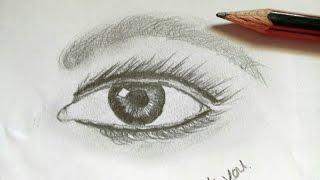 draw eye eyes easy drawing realistic simple step sketch tutorial drawings sketches paintingvalley