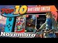 Top 10 Jogos Mais Vendidos de Nintendo Switch - Novembro