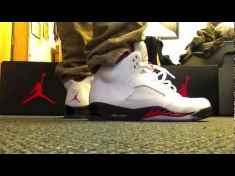 0412ada2529 Air Jordan Retro 5 V Fire Red 2013 On Feet Review - YouTube