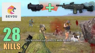 M249 + 6x Scope MADNESS!!! | 28 KILLS | SOLO SQUAD | PUBG Mobile