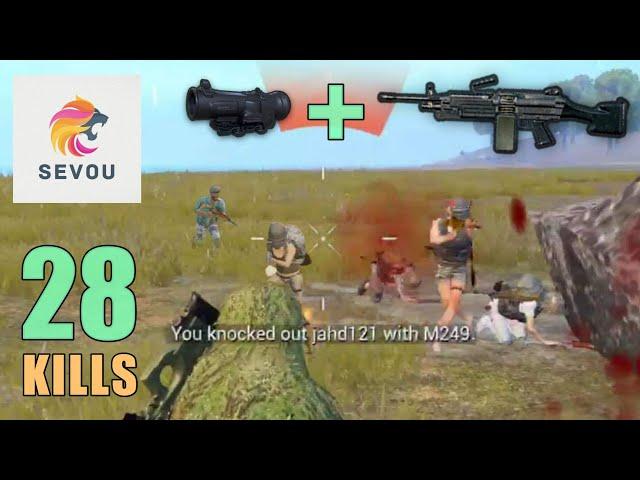 M249 + 6x Scope MADNESS!!! | 28 KILLS | SOLO SQUAD | PUBG Mobile