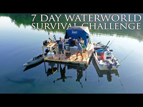 One Day Build and Move-in Floating Fishing Cabin - Day 1 of 7 Day WaterWorld Survival Challenge
