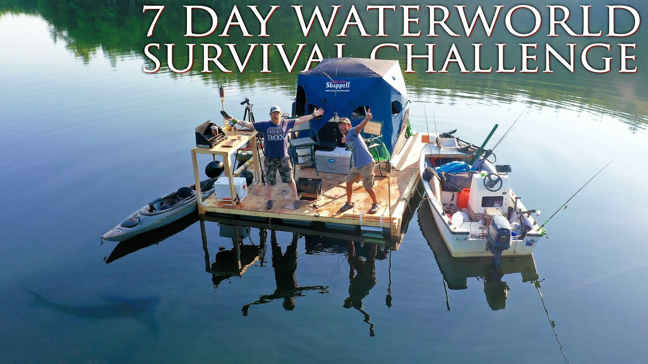 Download One Day Build and Move-in Floating Fishing Cabin - Day 1 of 7 Day WaterWorld Survival Challenge