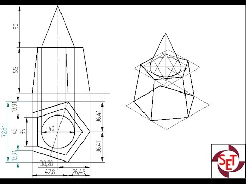 Isometric projection of a frustum of a pentagonal pyramid