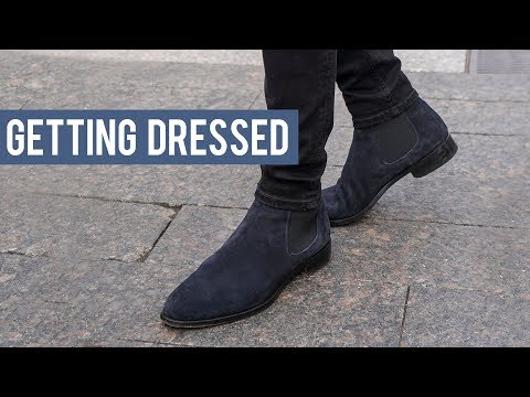 Wearing Black and Navy Chelsea Boots with Denim Jeans | Getting Dressed Step by Step #23