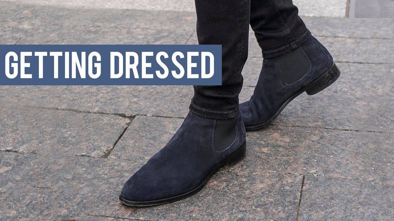 Wearing Black and Navy Chelsea Boots