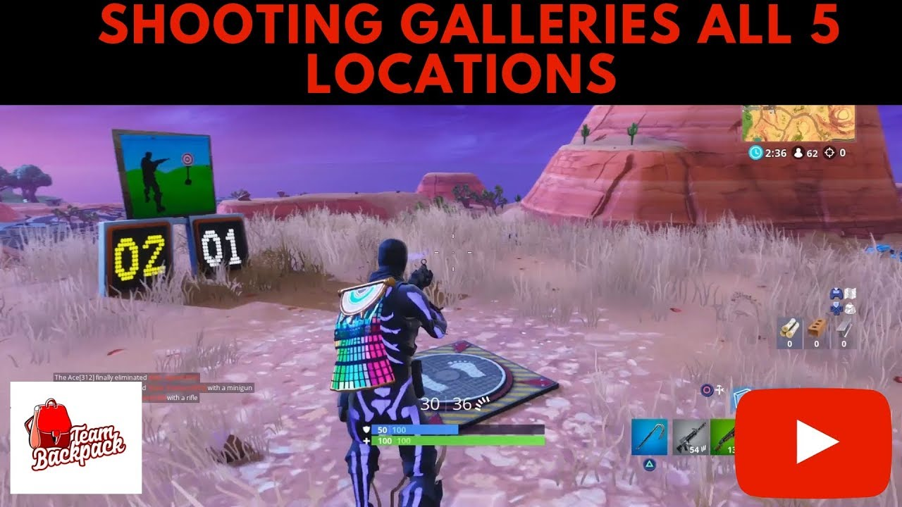 Shooting Galleries All 5 Locations Fortnite Battle Royale Week 4