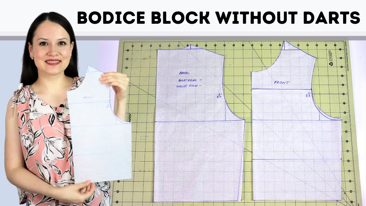 How to draft a DARTLESS bodice block for woven fabrics? Simple drafting tutorial 2021