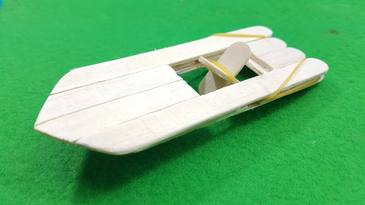 How to Make an Elastic Band Paddle Boat - YouTube