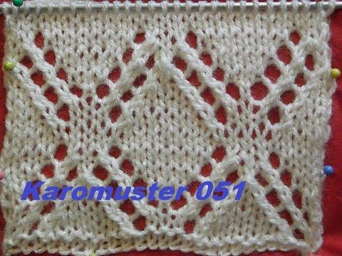Karomuster Diamant Ajourmuster 051*Stricken lernen*Muster für Pullover*Mütze*Tutorial Kreativ