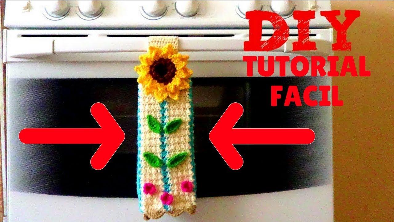 Secador de manos con girasol tejido a crochet adorno - Secador de manos ...