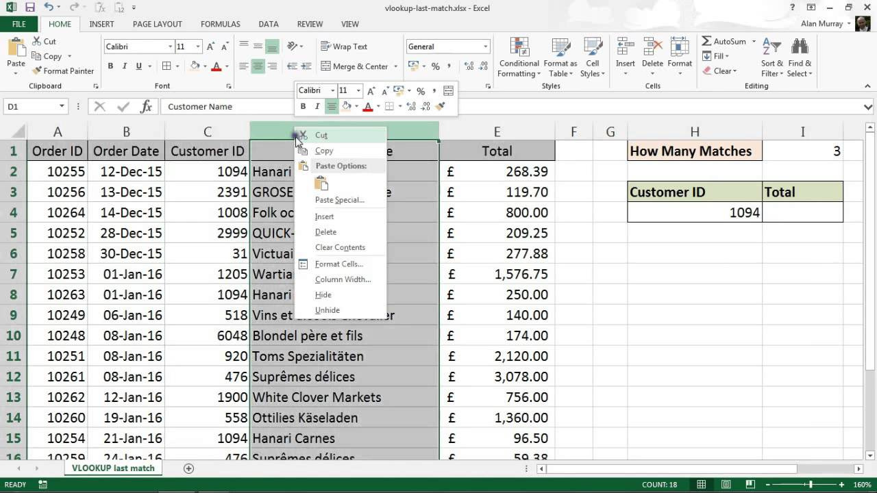 VLOOKUP to Find the Last Value in a List